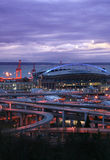 Seattle stadium at night. Night view at famous Seattle stadium Stock Photo
