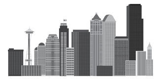 Seattle-Stadt-Skyline Grayscale-Illustration Lizenzfreie Stockfotografie