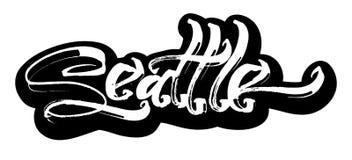 seattle sticker Letras modernas de la mano de la caligrafía para la impresión de la serigrafía imagenes de archivo