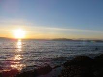 Seattle strandsolnedgång Arkivfoton