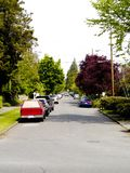 Seattle Street. Rows of cars parked along a street in Seattle, Washington Royalty Free Stock Image