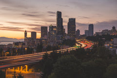 Seattle Cityscape At Sunset Royalty Free Stock Photos