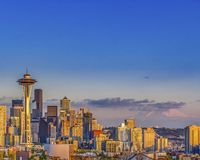 Seattle on a sunny sunset stock photography