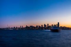Seattle Sunrise. Sunrise over Seattle skyline from Seacrest Park Royalty Free Stock Photography