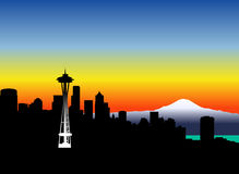 Seattle_sunset Royalty-vrije Stock Afbeelding
