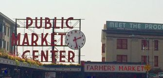 Seattle& x27; tecken för s-pikställe royaltyfri foto