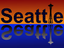 Seattle text at dusk Royalty Free Stock Photography