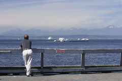 Seattle Tourism. Man overlooks Puget Sound and the Cascade Mountains while touring Seattle Royalty Free Stock Photos