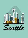 Seattle travel background Royalty Free Stock Photos