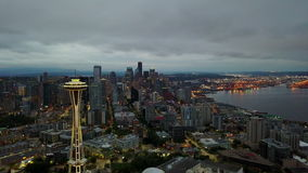 Seattle twilight aerial video. This is an aerial video clip recorded in morning twilight while flying toward downtown Seattle, Washington, USA stock video