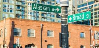 Seattle-Ufergegend-Straßenschild Lizenzfreies Stockfoto