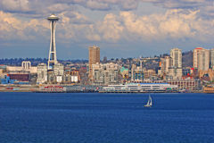 Seattle und Yacht Stockfotografie