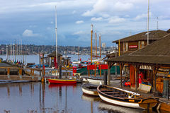 SEATTLE, USA – MARCH 22, 2016: Center for Wooden Boats museum on Lake Union on March 22, 2016 in Seattle, WA, USA. Stock Photos