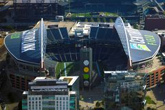 Seattle, USA, August 31, 2018: Aerial view of the CenturyLink Field and the Safeco Field, the main stadiums of Seattle royalty free stock photo