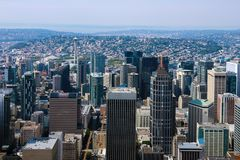 Seattle, USA, am 31. August 2018: Ansicht von im Stadtzentrum gelegenen Seattle-Skylinen in Seattle Washington lizenzfreies stockfoto