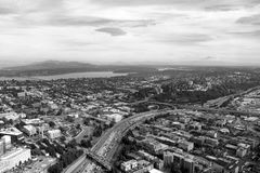 Seattle, USA, August 31, 2018: Seattle Cityscape Aerial Panoramic View stock images