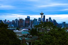 Seattle, USA, August 31, 2018: space needle with seattle downtown royalty free stock image