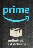 Amazon prime label. SEATTLE, USA - CIRCA DECEMBER 2017: Amazon prime label on a parcel Stock Photos