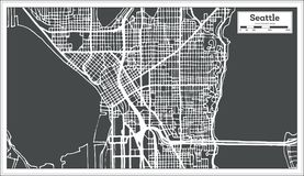 Seattle USA City Map in Retro Style. Outline Map. Stock Images