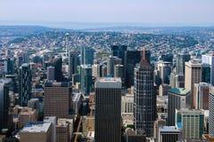 Seattle, usa, Sierpień 31, 2018: Widok w centrum Seattle linia horyzontu w Seattle Waszyngton zdjęcie royalty free
