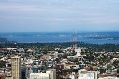 Seattle, usa, Sierpień 30, 2018: Widok z lotu ptaka Seattle miasto zdjęcia royalty free