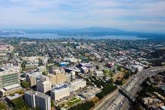 Seattle, usa, Sierpień 31, 2018: Widok z lotu ptaka Seattle w centrum centrum miasta linia horyzontu obraz stock