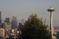 Seattle utrymmevisare, horisont på skymning Royaltyfri Foto