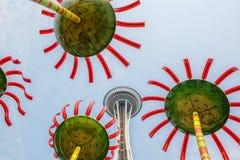 Seattle utrymmevisare och offentlig konst royaltyfria foton