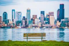 Seattle utsiktbänk Arkivfoton