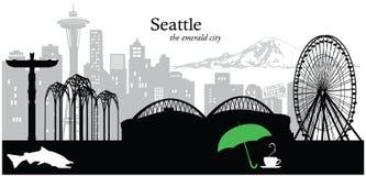Seattle. Vector illustration of the skyline / cityscape of Seattle, Washington, USA Stock Photos