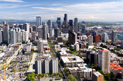 Seattle - A view from atop the Space Needle. A view of of downtown Seattle and Mt. Rainier from the top of the Space Needle. The 520 foot tall architectural Royalty Free Stock Image