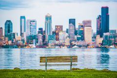 Seattle Vista Bench. Seattle Skyline and the Bay Vista Wooden Bench. Seattle, Washington, USA Stock Photos