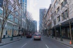 Seattle w centrum ciężka ulica zdjęcia royalty free