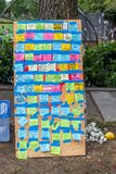 Seattle, WA - 11 June 2020. A board with colorful stickers on it saying some protests slogans during the protest Black Lives
