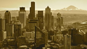 Seattle, WA. This is the view of beautiful Seattle, Washington from the Space Needle with Mount Rainier in the background stock image
