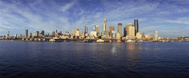Seattle, WA skyline from Bainbridge Island Ferry stock photos