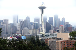 Seattle WA. skyline in fog. Stock Photos
