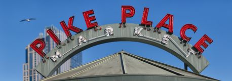 Pike Place Market Neon Sign stock images
