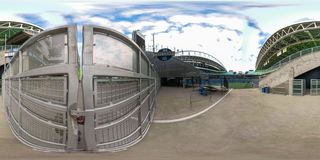 360 equirectangular spherical photo of Downtown Seattle Washington royalty free stock photo