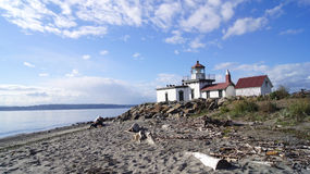 SEATTLE, WASHINGOTN - SEPTEMBER 2014: West Point Lighthouse. It was added to the National Register of Historic Places in Stock Photos