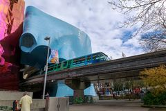 The Museum of Pop Culture (MoPOP) and Monorail in Seattle stock photos