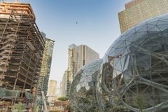 Amazon World Headquarters Spheres with new tower going up royalty free stock photography