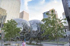 Amazon World Headquarters Spheres and trees. stock images