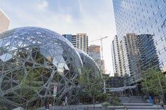 Amazon World Headquarters Spheres people and trees. Seattle, Washington circa May 2018 the Amazon company world headquarters Spheres terrariums with outside royalty free stock photography