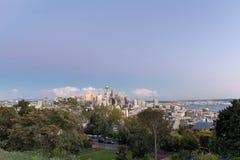 Seattle Washington City Skyline en Puget Sound-Mening Stock Foto