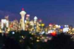 Seattle Washington City Skyline på skymning ut ur fokusen Bokeh Fotografering för Bildbyråer