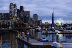Seattle Washington City Skyline, Wharf & Marina at Dusk stock photo