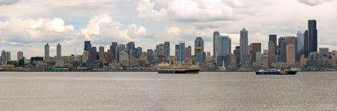 Seattle City Skyline along Elliott Bay Royalty Free Stock Image