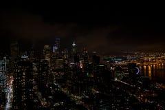 SEATTLE, WASHINGTON, DE V.S. - 23 JANUARI, 2017: horizon van Seattle van de binnenstad, mening vanaf de bovenkant van de Ruimtena stock fotografie