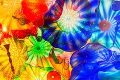 Seattle, Washington, de V.S. - 10 02 2018: Van het Chihulytuin en glas tentoonstelling Bloemen het verkopen details stock foto's